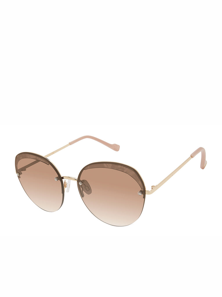 Trendy Metal Round Sunglasses in Gold & Nude