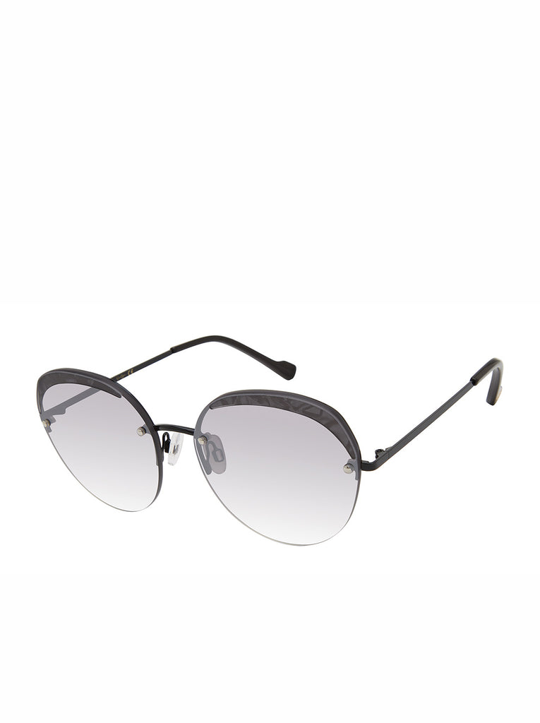 Trendy Metal Round Sunglasses in Black