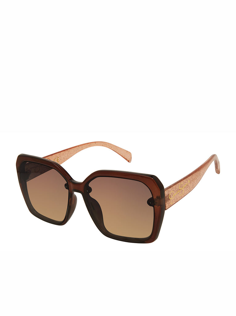 Sparkle Square Sunglasses in Brown Glitter
