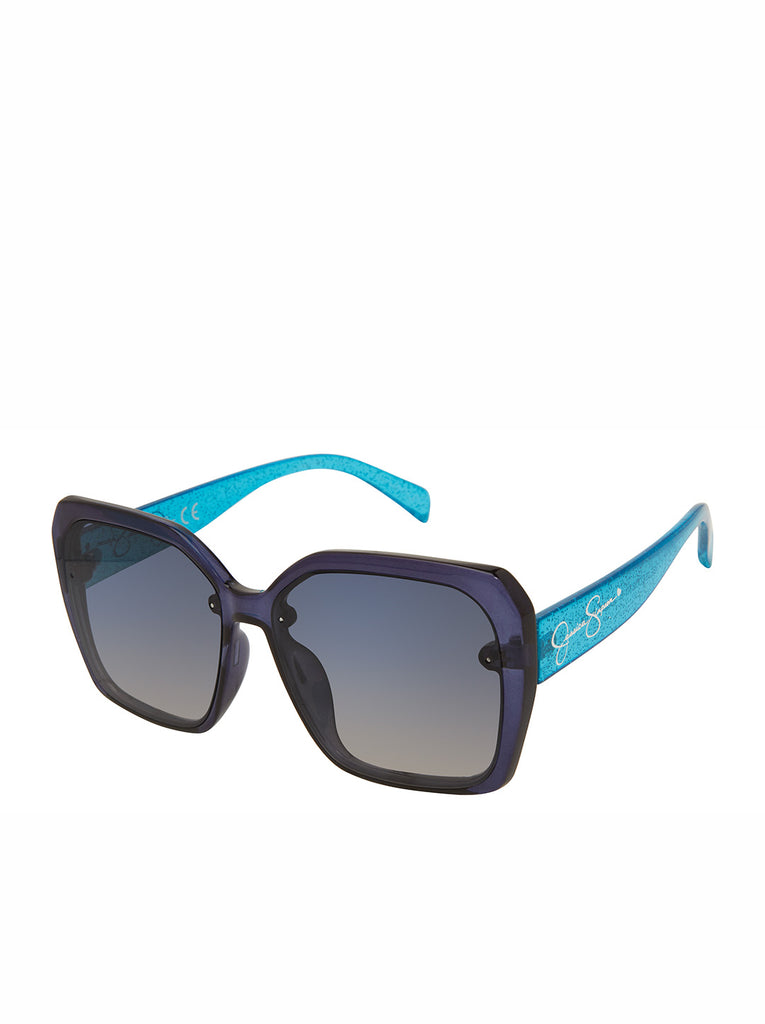 Sparkle Square Sunglasses in Blue Glitter
