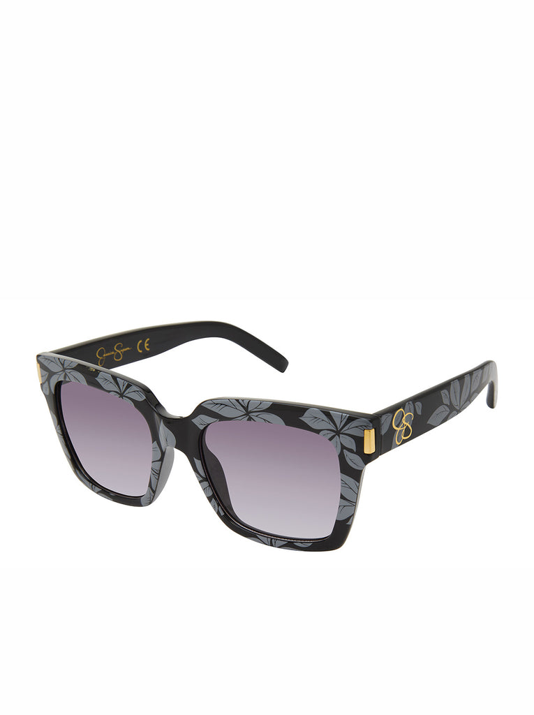 Modern Square Sunglasses in Black Floral