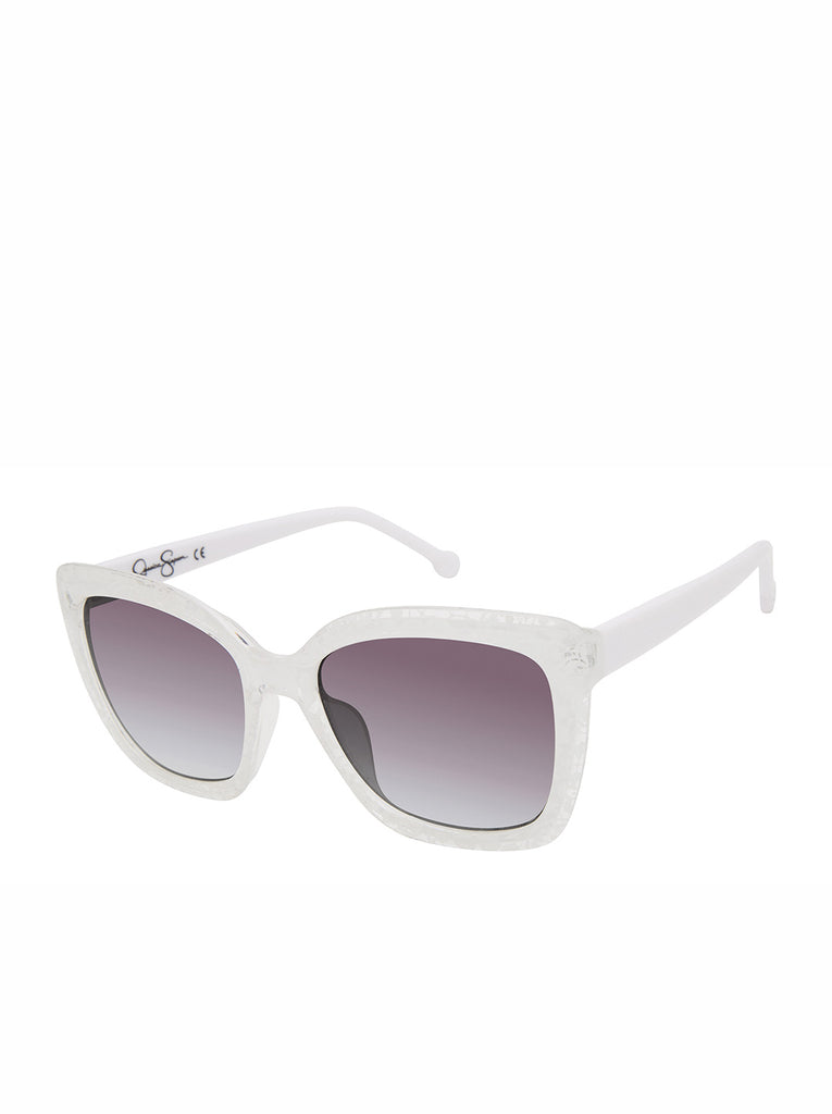 Chic Cat-Eye Sunglasses in White Lace