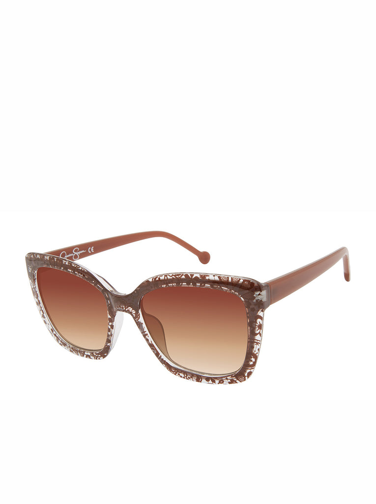 Chic Cat-Eye Sunglasses in Brown Lace