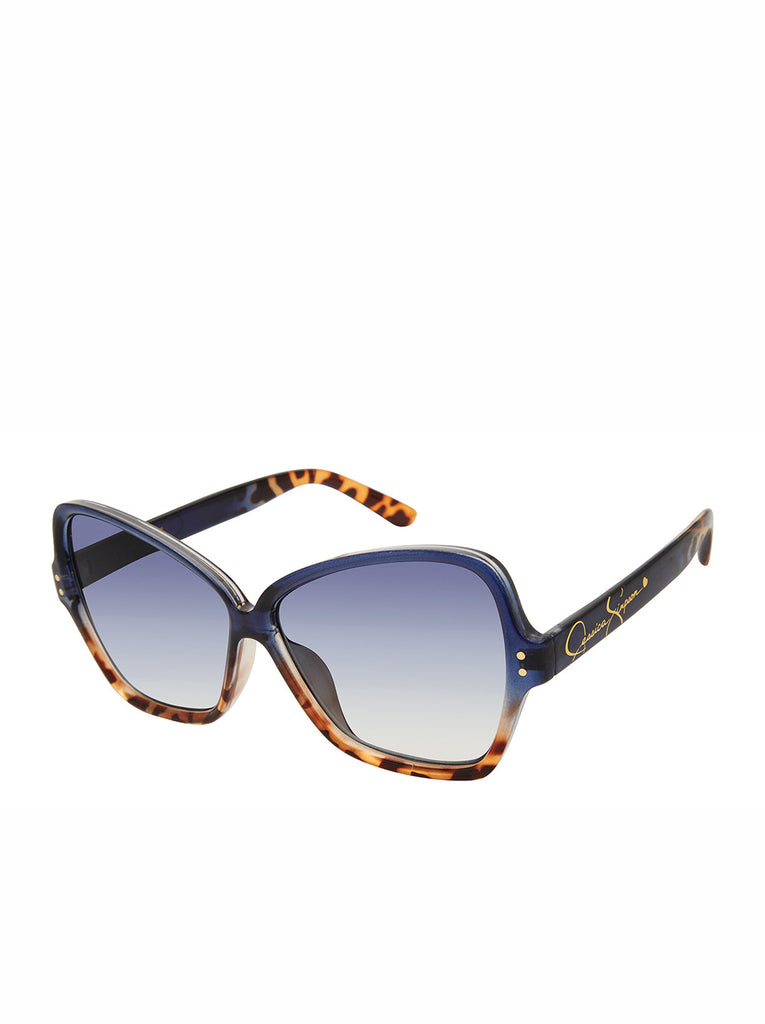 Stylish Butterfly Sunglasses in Blue Tortoise