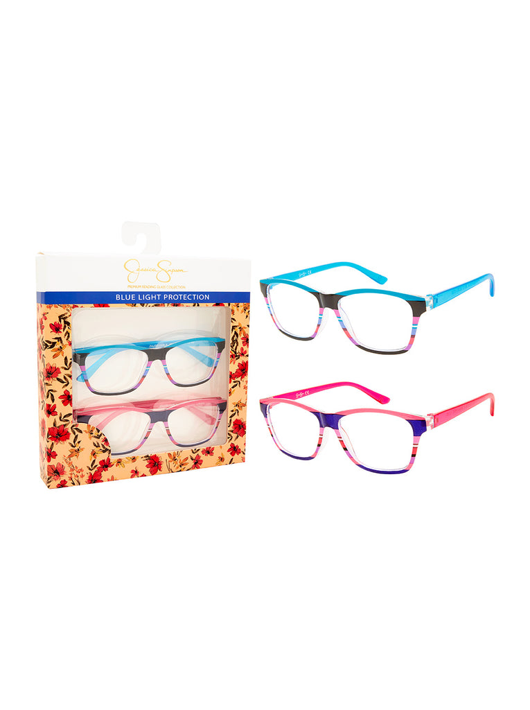 Set of 2 Rectangle Blue Light Readers in Stripe