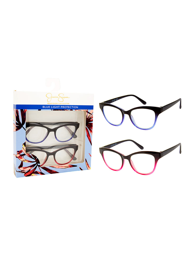 Set of 2 Cat-Eye Blue Light Readers in Ombre