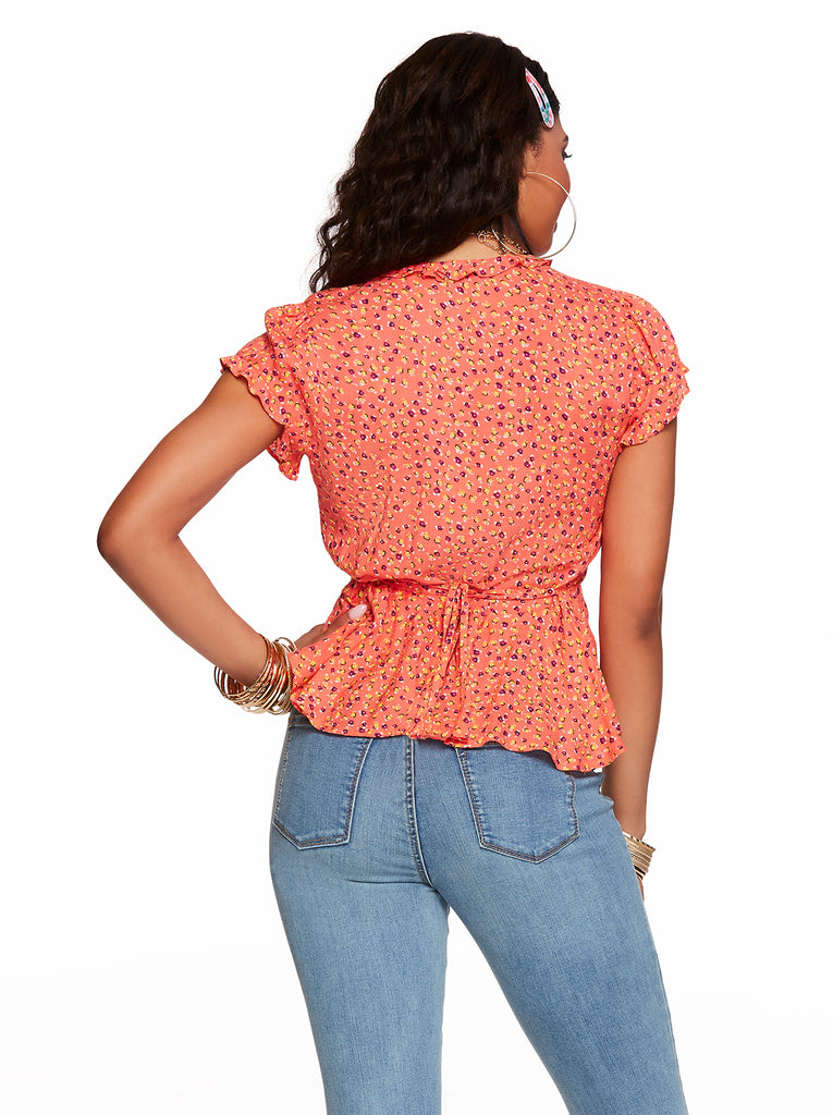 Christina Peplum Top in Emberglow Mini Florals