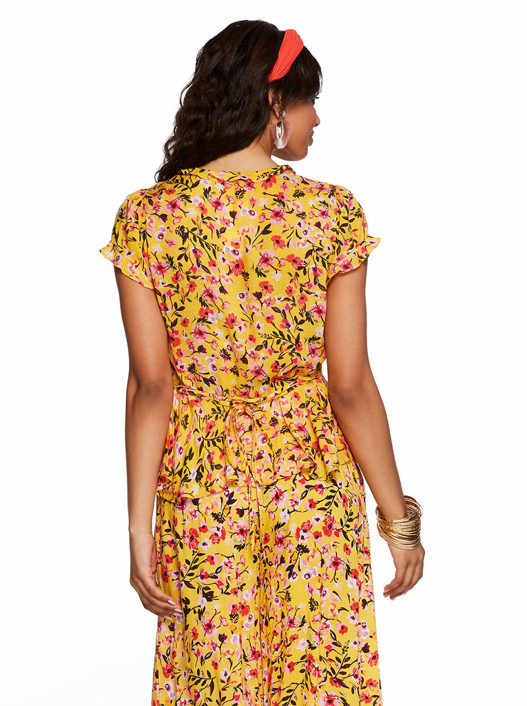 Christina Peplum Top in Golden Rod Acrylic Floral