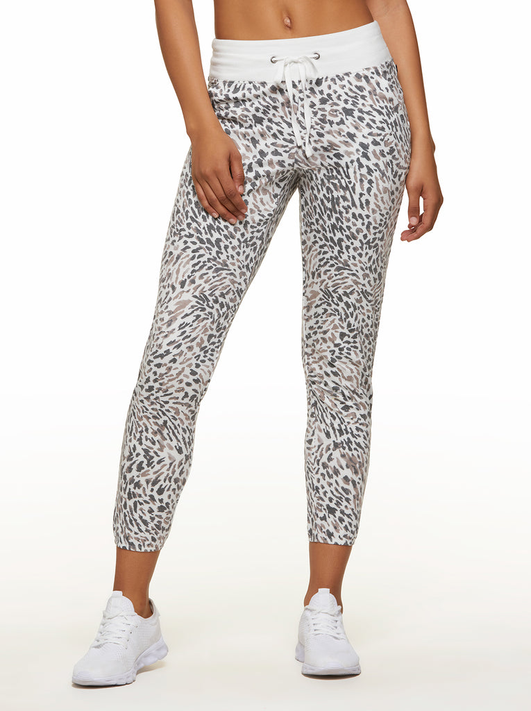 Felicity Jogger in White Animal Texture