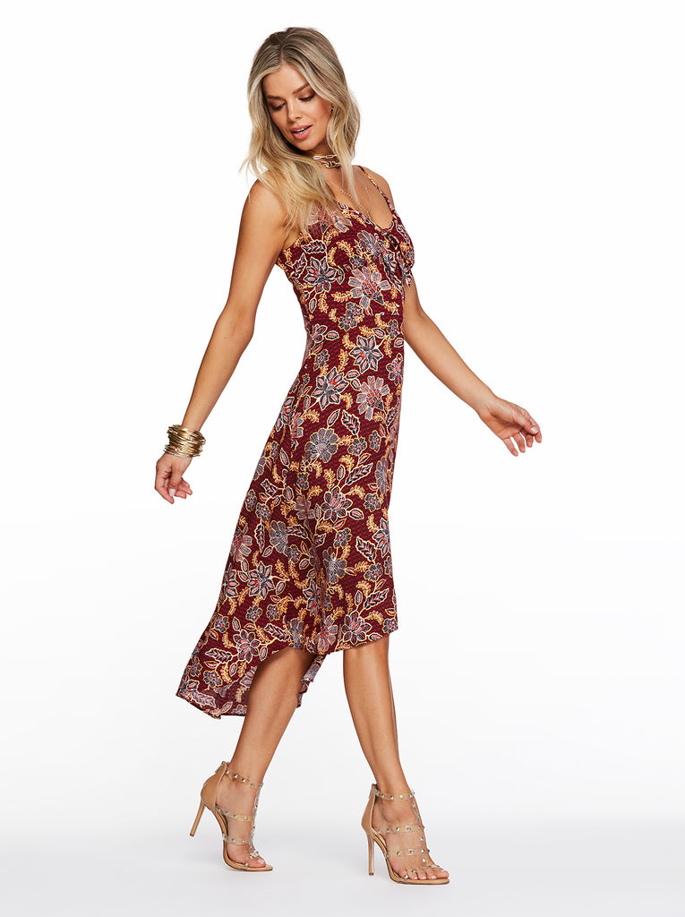 Fria Dress in Red Dahlia Moroccan Blooms
