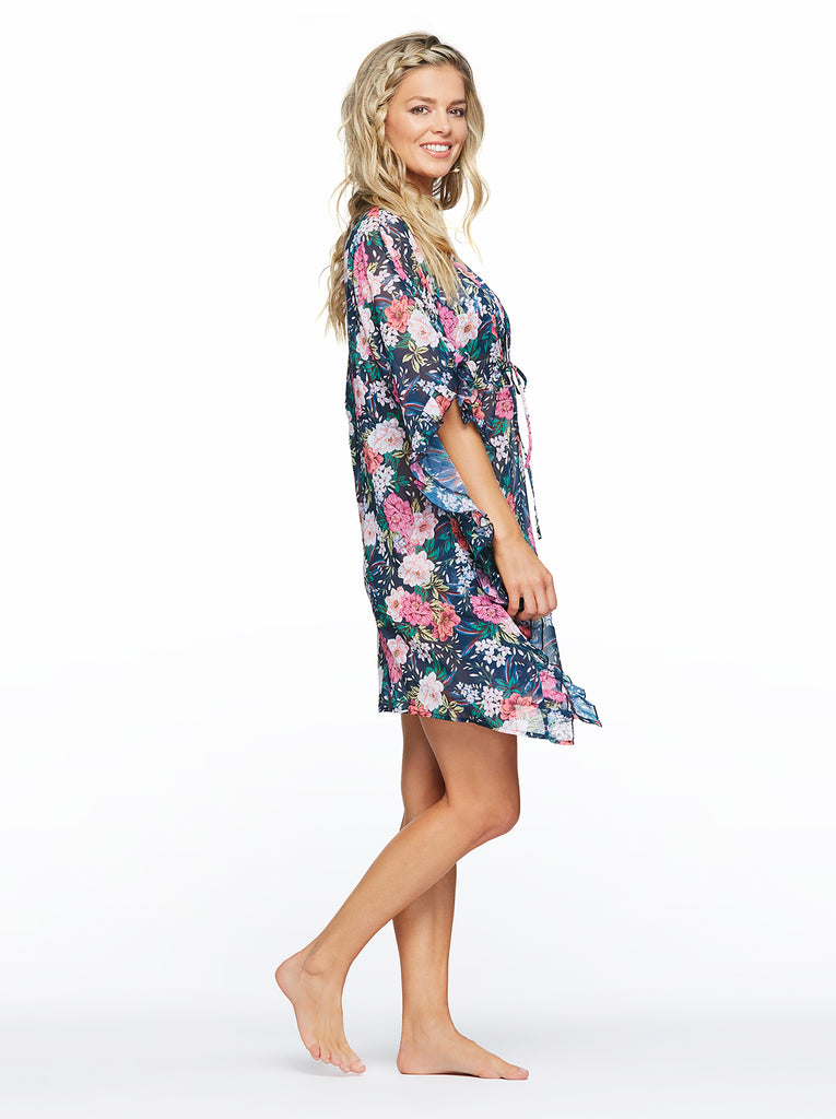 Gardenia Paradise Frill Cover Up in Dark Navy Floral