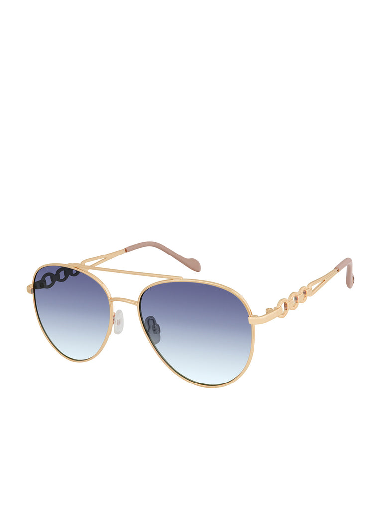 Classic Aviator with Link Detail in Gold & Nude