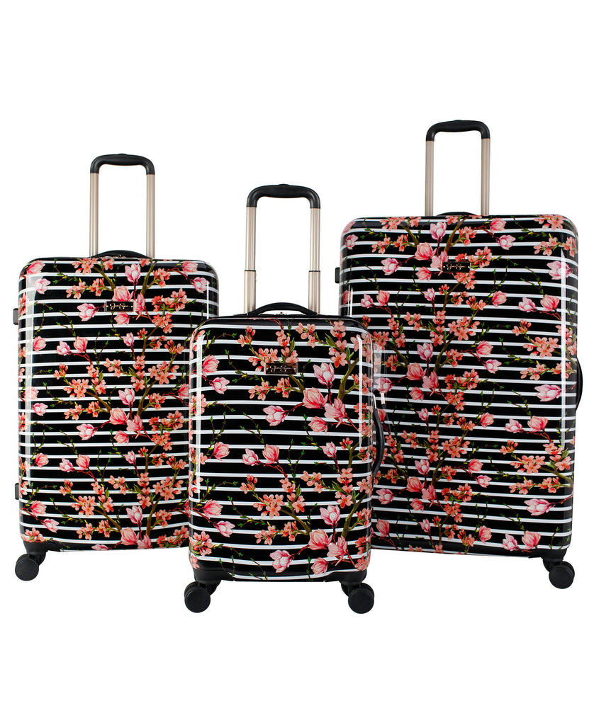 Stripe Blossom Luggage Collection in Black