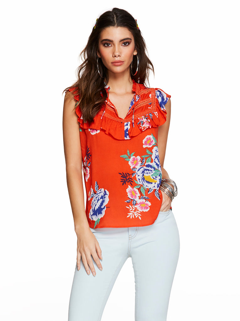 Lori Ruffle Top in Spicy Orange Comic Florals