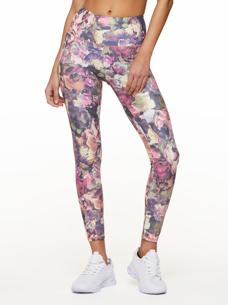 Tummy Control Ankle Legging in Tea Rose Bouquet