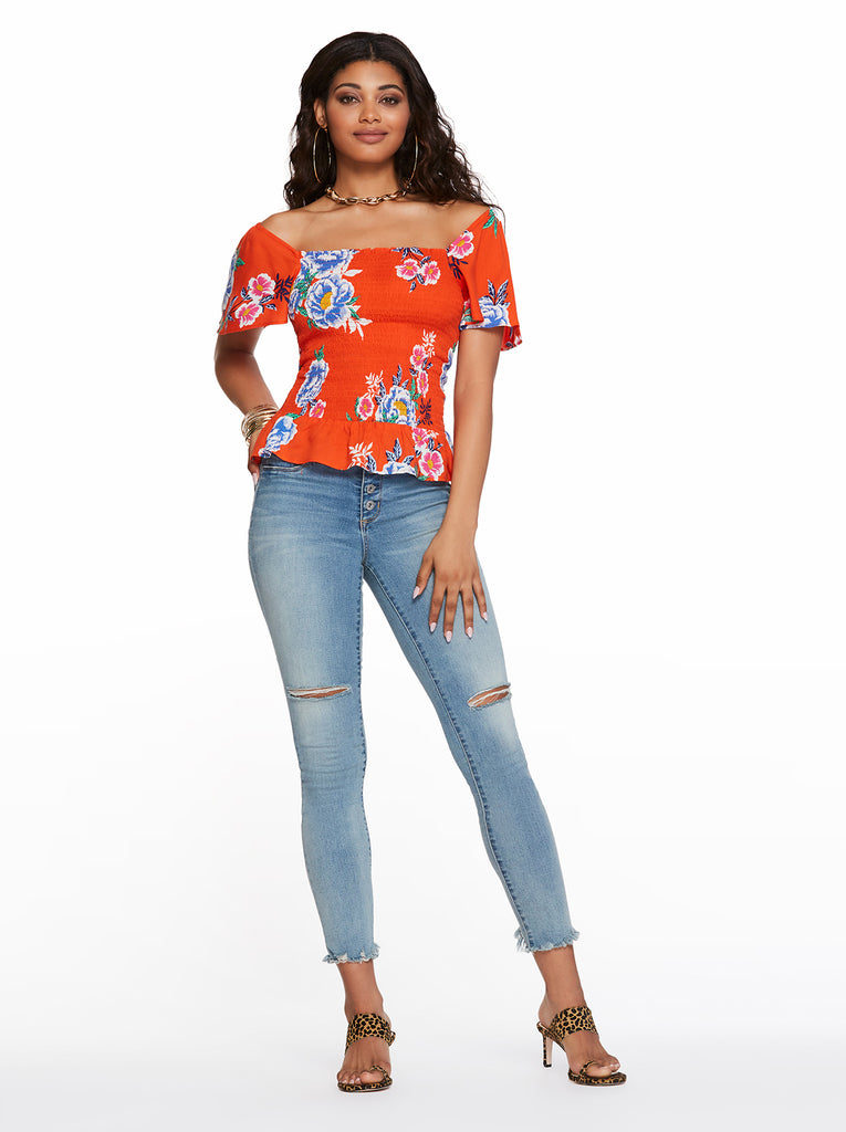 Marie Top in Spicy Orange Comic Florals