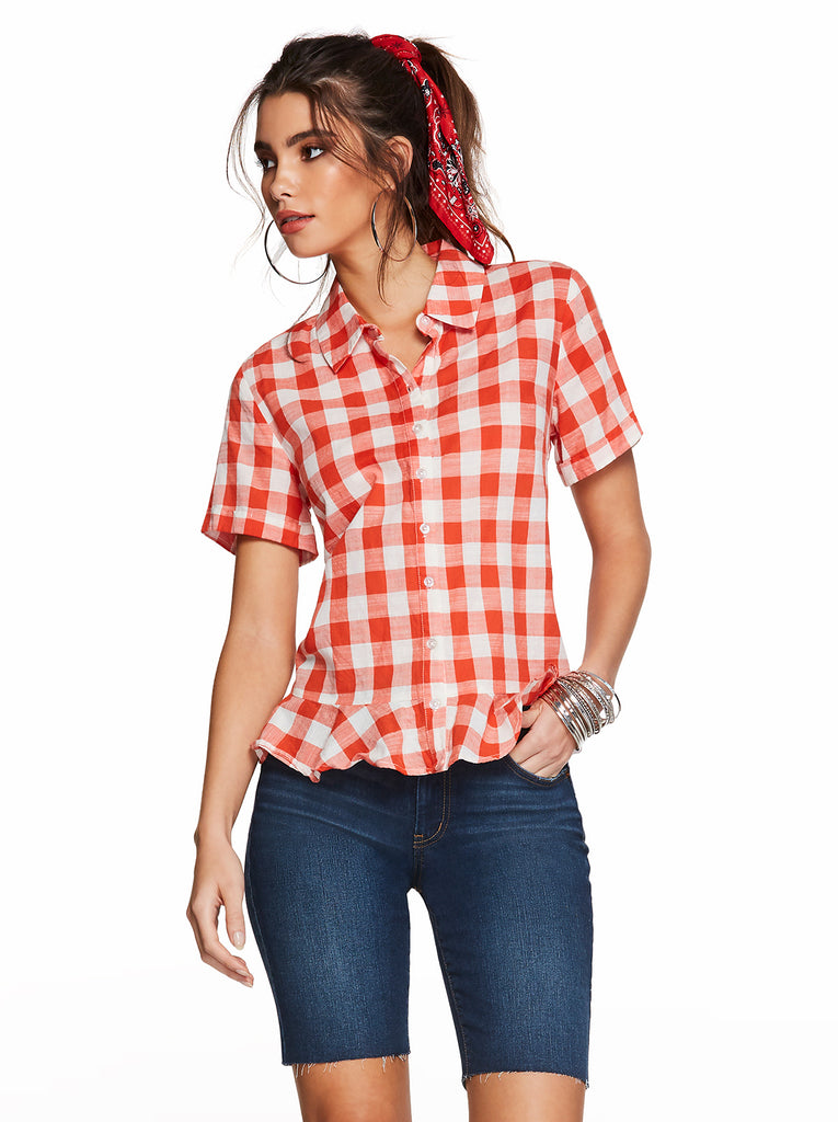 Nellie Top in Emberglow Gingham Check