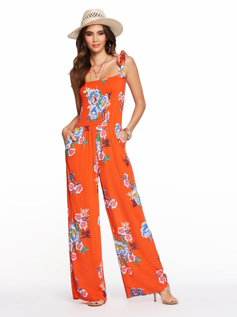 Romie Jumpsuit in Spicy Orange Comic Floral