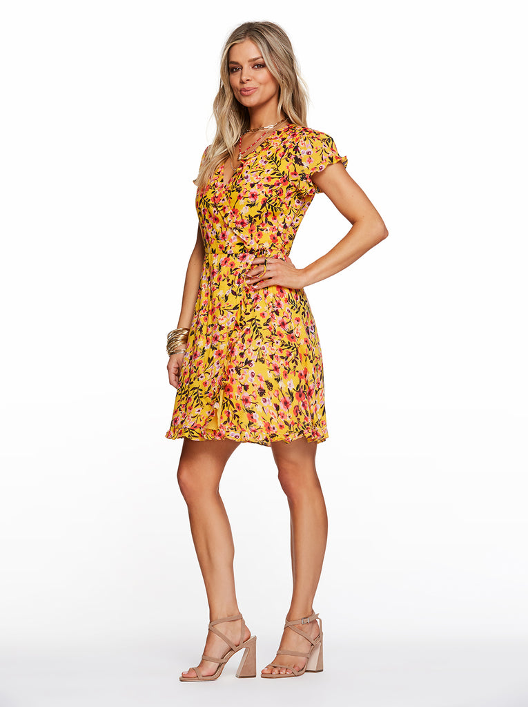 Sade Dress in Golden Rod Acrylic Floral