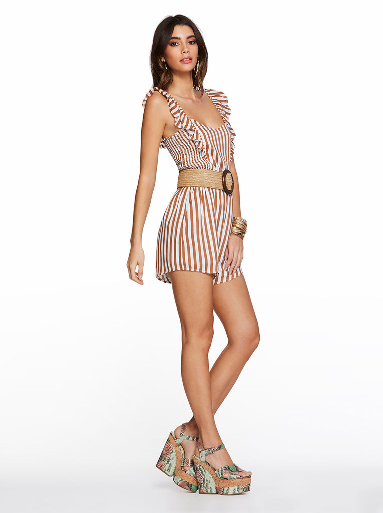 Sierra Romper in Argan Stripe