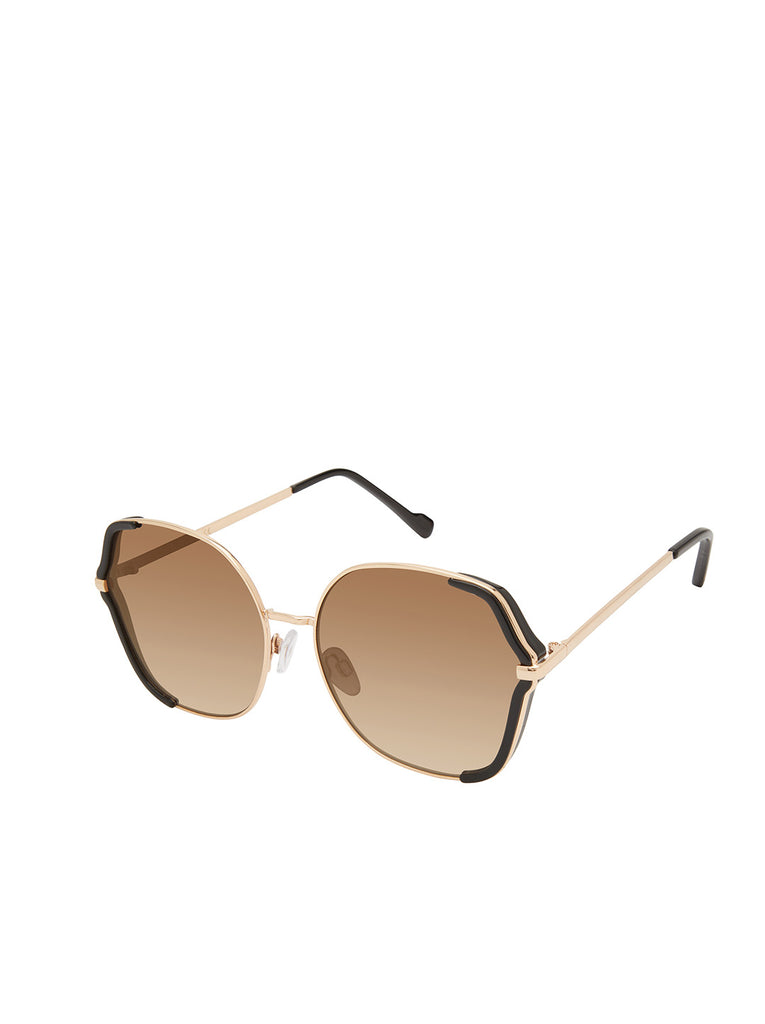 Geometric-Shaped Metal Sunglasses in Gold & Black