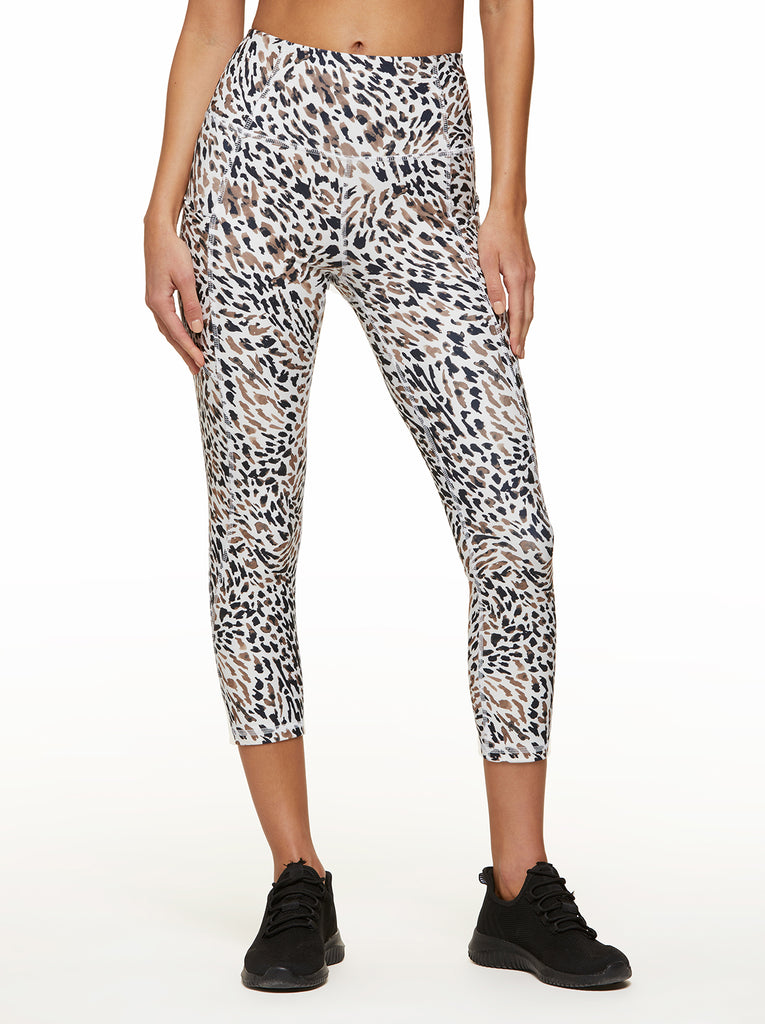 Tummy Control Capri White Animal Texture