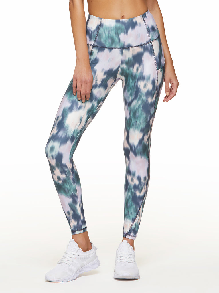 Tummy Control Ankle Legging  in Ombre Blue Ikat Floral