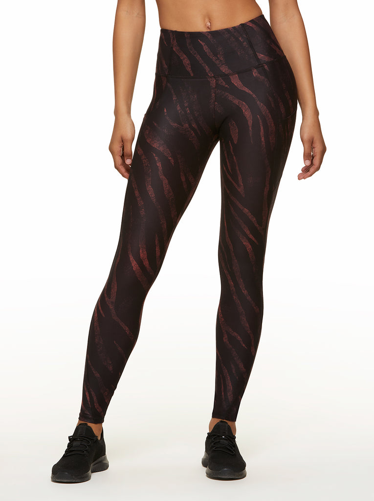 Tummy Control Ankle Legging in Black Mystic Zebra