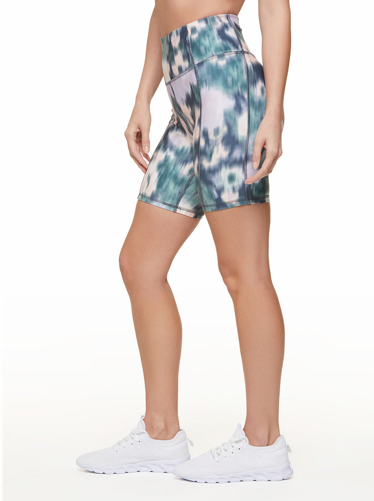 Tummy Control Bermuda in Ombre Blue Ikat Floral