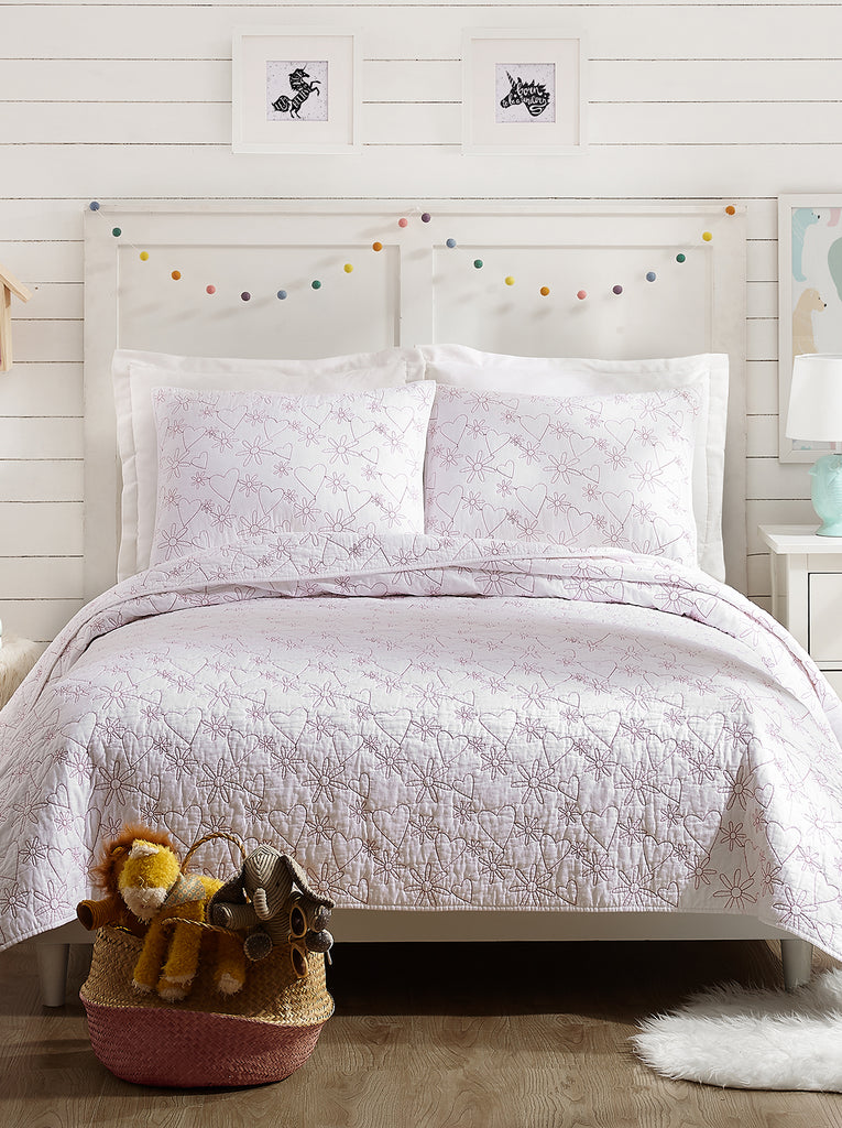 Flower Heart Kids Quilt Set in White