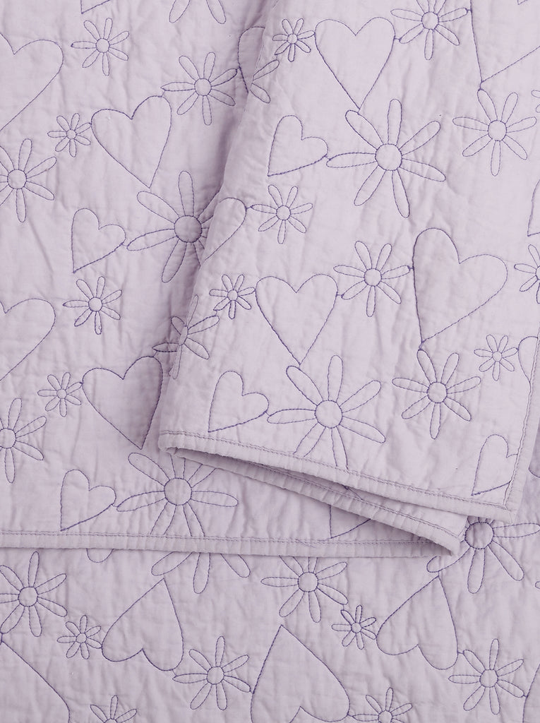 Flower Heart Kids Quilt Set in Purple