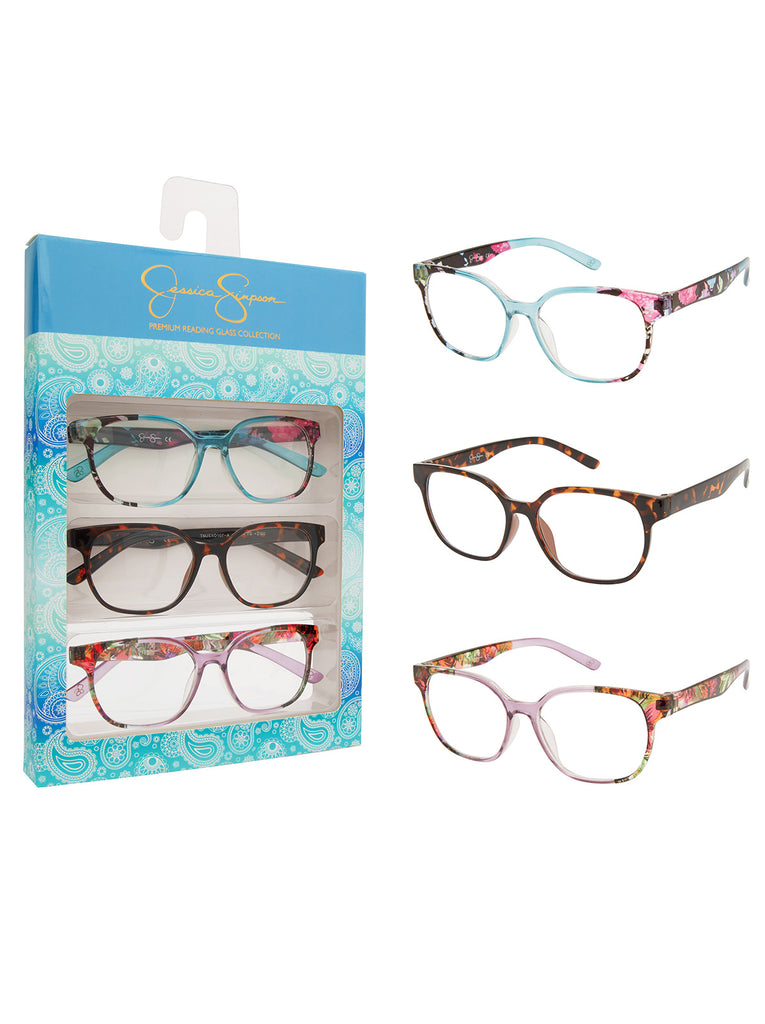 Set of 3 Readers in Blue Floral, Purple Floral & Tortoise