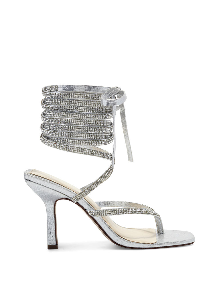 Kelsa High Heel Sandal in Silver Sparkle