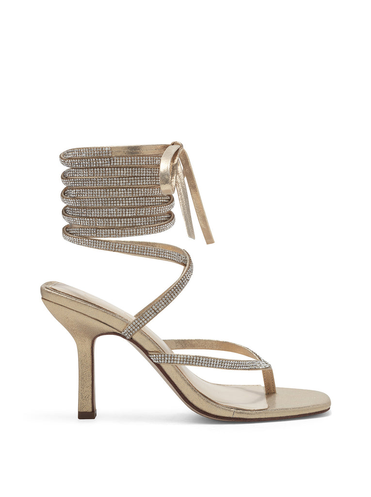 Kelsa High Heel Sandal in Gold Sparkle