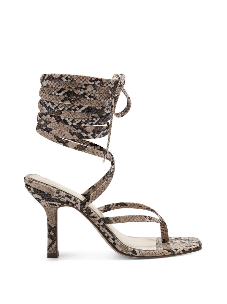 Kelsa High Heel Sandal in Khaki Snake