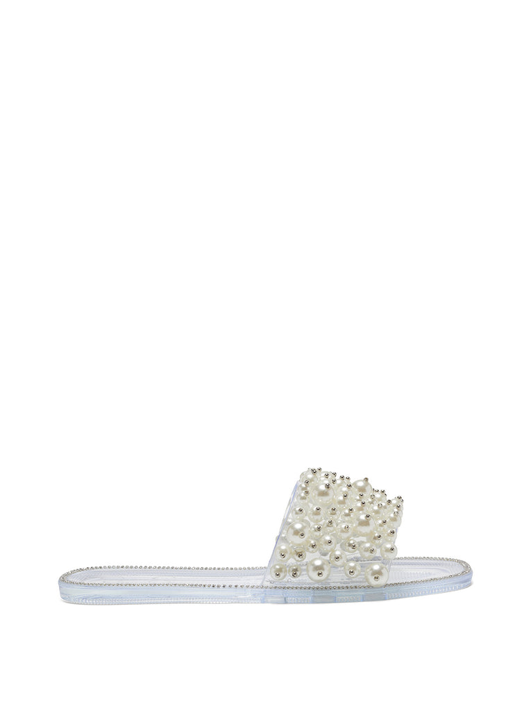 Kassime Flat Slide in Clear and Pearl