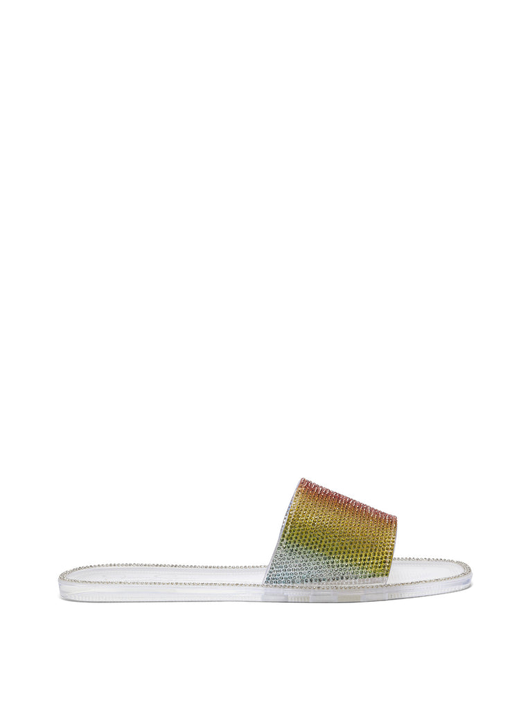 Kassime Flat Slide in Clear and Rainbow