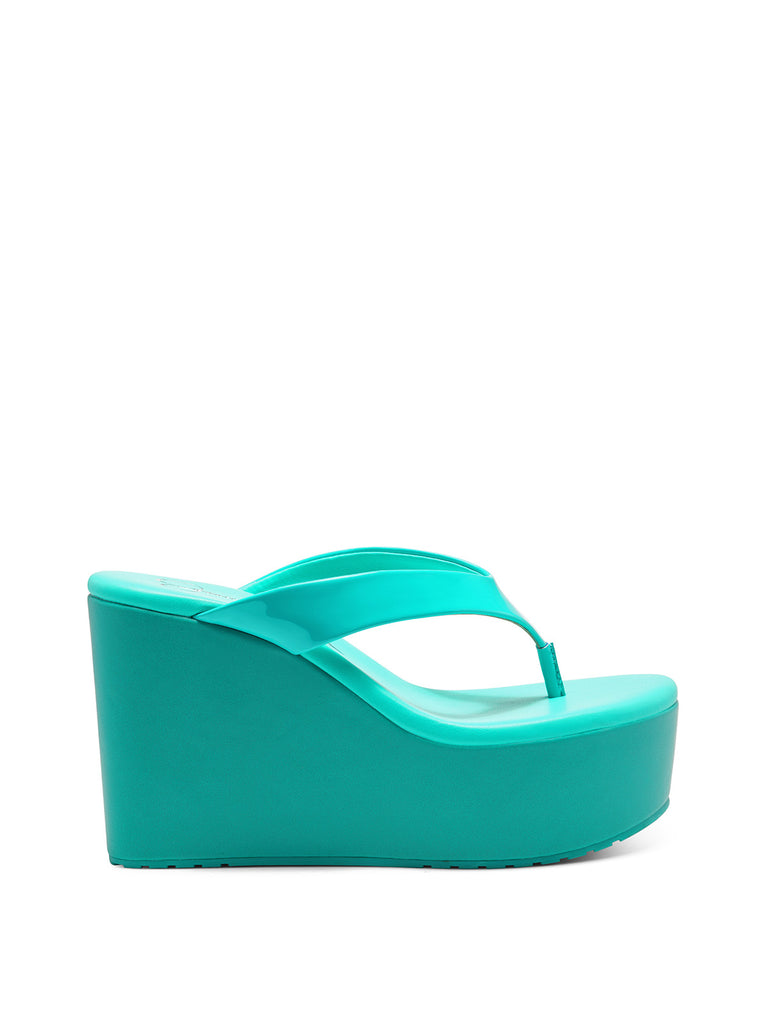Stilla Platform Wedge Slide in Seabreeze