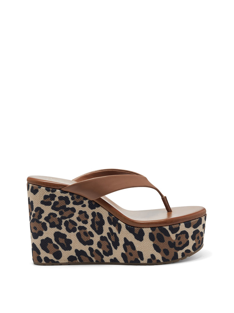 Stilla Platform Wedge Slide in Caramel & Leopard