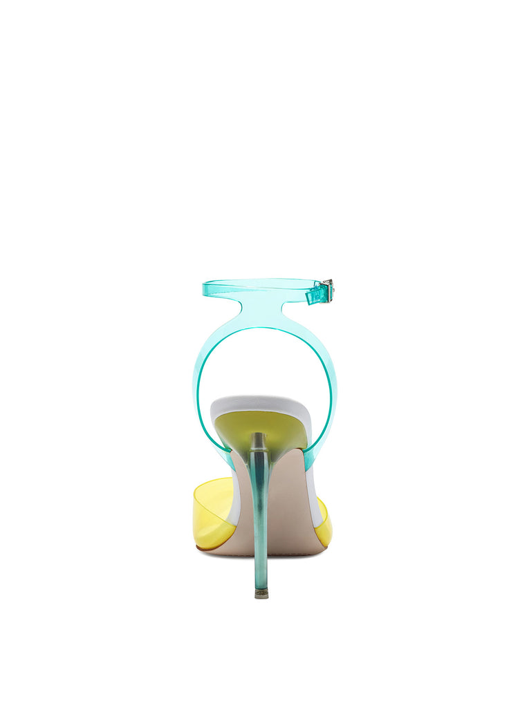 Pirrie High Heel in Clear Yellow & Blue