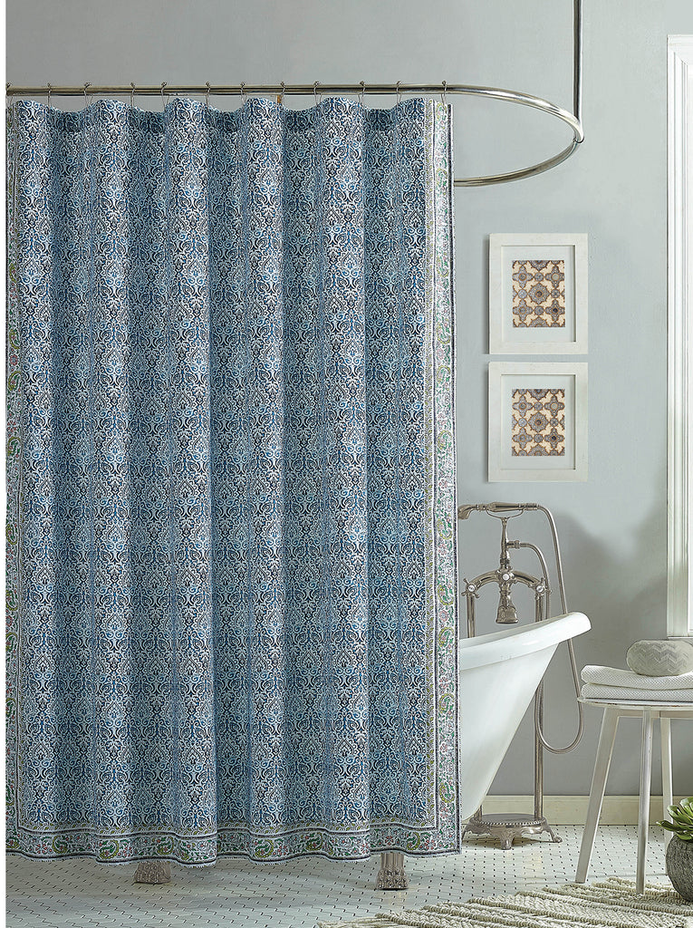 Talca Lined Shower Curtain in Blue