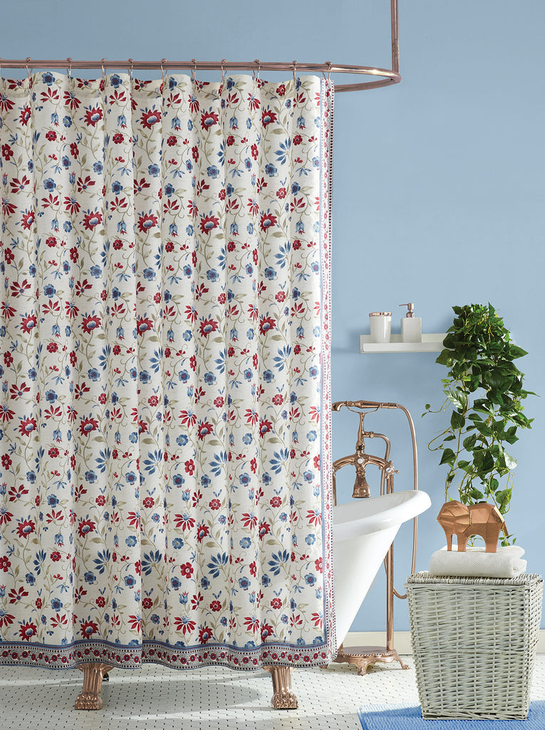 Galieri Lined Shower Curtain in Blue Floral