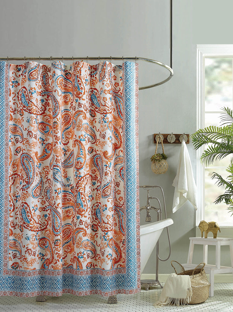 Caicos Lined Shower Curtain in Coral Paisley