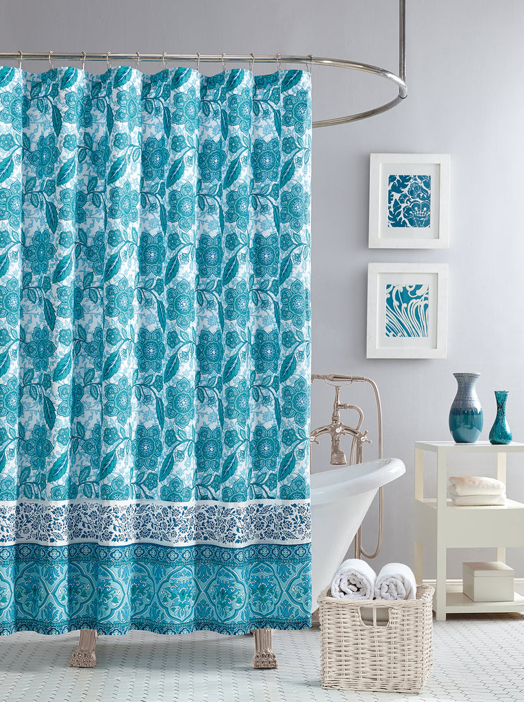 Aqua Flora Lined Shower Curtain in Blue Floral