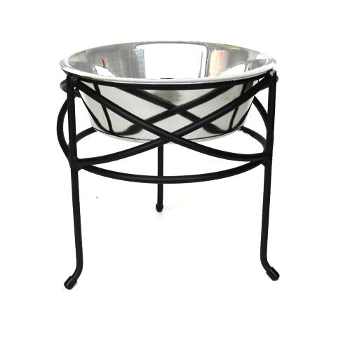 Pets Stop Mesh Dog Diner Elevated Single Bowl Dog Food Stand Black Large Dog