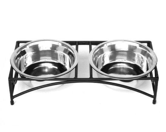 Pets Stop Tiny Regal Double Elevated Pet Food Bowl Black