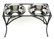 Pets Stop - Arbor Double Diner Raised Pet Bowl Feeder - Black, Metal Bowls