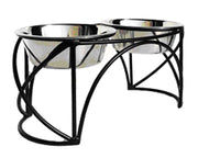 Pets Stop - Oval Cross Double Diner - Black Wrought Iron Raised Feeder - Available in 3 Sizes