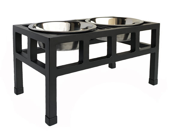 Four Square Double Diner - Elevated Dog Bowl Feeder - Black Finish - Metal Steel Dog Bowls - Pets Stop
