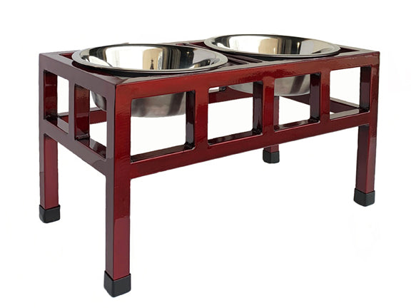 Four Square Double Diner - Elevated Dog Bowl Feeder - Cherry Finish - Metal Steel Dog Bowls - Pets Stop